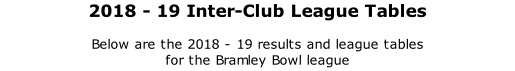 2018 - 19 Inter-Club League Tables  Below are the 2018 - 19 results and league tables  for the Bramley Bowl league
